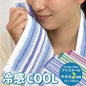 【ネコポス】 【送料無料】 ice-towel2019 アイスクールタオル 2枚組 保冷剤付 16×108cm NT|nemurinoheya