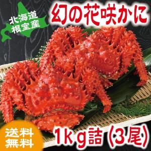 北海道産 根室 花咲かに(オスメス無選別) 1kg 詰(3尾入)  カニ かに 根室産 送料無料