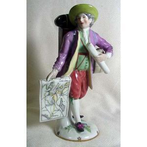 1609【質屋出店】AUGRAREN 陶製人形AUGRAREN WIEN17×6cm底部窯印有り 中...