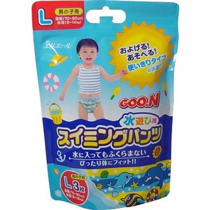 水遊び用紙おむつグ~ンLサイズ・3枚入り12パック(ブルー) グーン スイミングパンツ