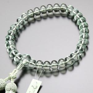 数珠 男性用 31玉 みかん玉 グリーンクォーツ 正絹2色房 数珠袋付き|nenjyu