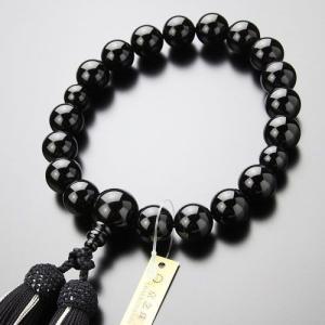 数珠 男性用 18玉 オニキス 正絹房 数珠袋付き|nenjyu