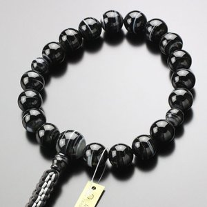 浄土真宗 男性用 数珠 18玉 黒縞瑪瑙 紐房(釈迦結び) 数珠袋付き|nenjyu