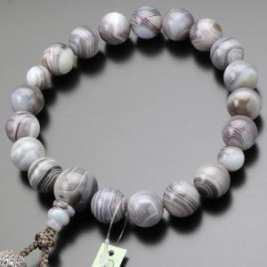 数珠 男性用 18玉 縞瑪瑙(グレー系) 正絹2色房 数珠袋付き|nenjyu