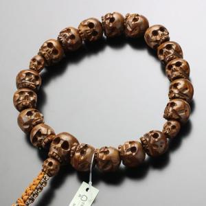 浄土真宗 男性用 数珠 18玉 髑髏彫り 柘植 紐房 数珠袋付き|nenjyu