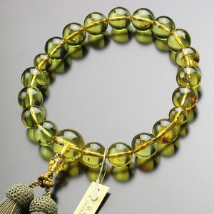 鑑別書付 数珠 男性用 18玉 虫入り 天然 琥珀 正絹房 数珠袋付き nenjyu