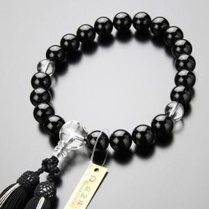 数珠 男性用 20玉 黒オニキス 龍彫り水晶 正絹2色房 略式数珠|nenjyu