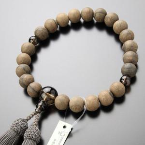 数珠 男性用 22玉 シャム柿(素引き) 茶水晶 正絹房 数珠袋付き|nenjyu