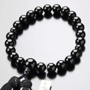 数珠 男性用 黒オニキス 22玉 正絹2色房|nenjyu