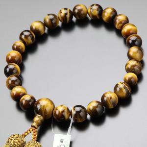 数珠 男性用 虎目石 22玉 正絹房 数珠袋付き|nenjyu