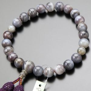 数珠 男性用 22玉 グレー系縞瑪瑙 正絹2色房 数珠袋付き|nenjyu