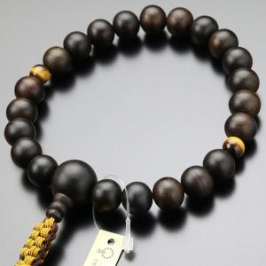 【送料無料】浄土真宗 数珠 男性用 縞黒檀 2天 虎目石 紐房 本式数珠|nenjyu