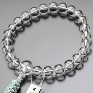浄土真宗 数珠 男性用 22玉 本水晶 紐房 本式数珠 京念珠 門徒 数珠袋付き|nenjyu