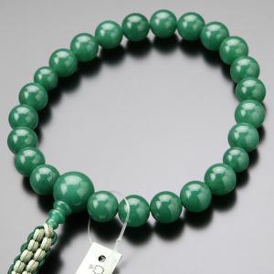 数珠 男性用 浄土真宗 上質 印度翡翠 22玉 紐房 数珠袋付き|nenjyu