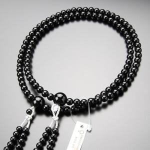 真言宗 数珠 男性用 尺二 黒オニキス 梵天房 数珠袋付き|nenjyu