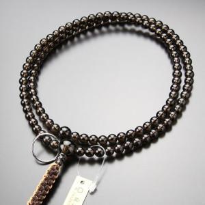 曹洞宗 数珠 男性用 尺二 茶水晶 本銀輪 紐房 数珠袋付き|nenjyu