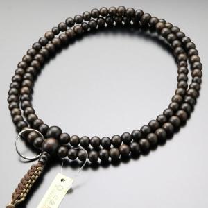 数珠 男性用 曹洞宗 縞黒檀 (艶消し) 尺二 本銀輪 紐房 数珠袋付き|nenjyu
