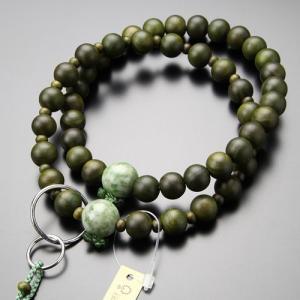 浄土宗 数珠 男性用 三万浄土 緑檀 独山玉 梵天房 数珠袋付き|nenjyu