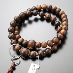 浄土宗 数珠 男性用 三万浄土 栴檀(艶消し) 本銀輪 梵天房 数珠袋付き|nenjyu