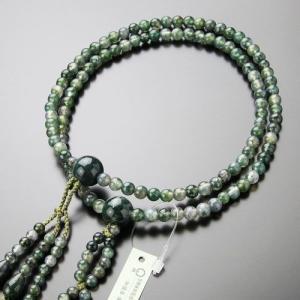 日蓮宗 数珠 男女兼用 尺寸 青苔瑪瑙 梵天房 数珠袋付き|nenjyu