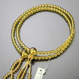 日蓮宗 数珠 男女兼用 尺寸 黄水晶 梵天房 数珠袋付き|nenjyu