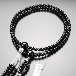 日蓮宗 数珠 男性用 尺二 黒オニキス 梵天房 数珠袋付き|nenjyu