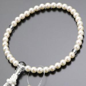 数珠 女性用 約6.5ミリ 本真珠 本水晶 正絹房 数珠袋付き|nenjyu