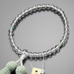 数珠 女性用 約7ミリ 本水晶 2天 印度翡翠 正絹房 略式数珠 京念珠|nenjyu