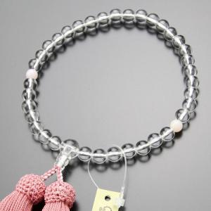 数珠 女性用 約7ミリ 本水晶 ピンクオパール 正絹房|nenjyu