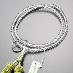 曹洞宗 数珠 女性用 8寸 本水晶 正絹房(若草色) 数珠袋付き|nenjyu