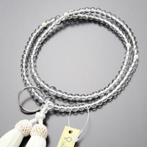 曹洞宗 数珠 女性用 8寸 本水晶 本真珠 正絹房 数珠袋付き|nenjyu