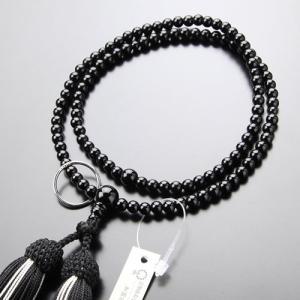 曹洞宗 数珠 女性用 8寸 黒オニキス 正絹2色房 数珠袋付き|nenjyu
