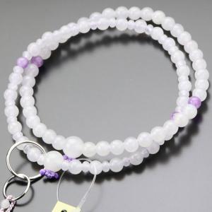 浄土宗 数珠 女性用 8寸 白オニキス 藤雲石 梵天房 数珠袋付き|nenjyu
