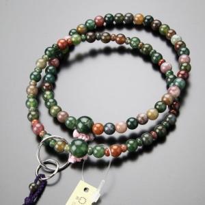 浄土宗 数珠 女性用 8寸 五色瑪瑙 梵天房 数珠袋付き|nenjyu