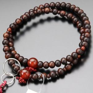数珠 女性用 浄土宗 紫檀 瑪瑙 8寸 数珠袋付き|nenjyu