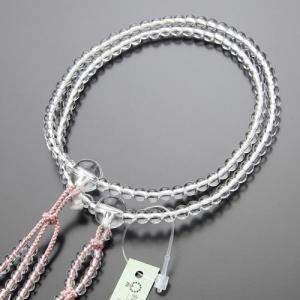 日蓮宗 数珠 女性用 本水晶 8寸 梵天房(灰桜) 数珠袋付き|nenjyu