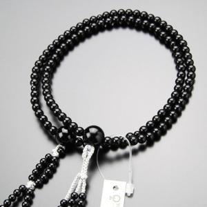 日蓮宗 数珠 女性用 8寸 黒オニキス 梵天房 数珠袋付き|nenjyu