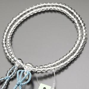 浄土真宗 数珠 女性用 8寸 本水晶 正絹房(浅葱房) 本式数珠 数珠袋付き|nenjyu