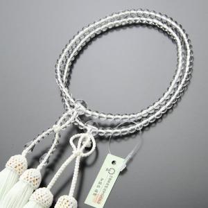 浄土真宗 数珠 女性用 8寸 本水晶 正絹房(白色) 数珠袋付き|nenjyu
