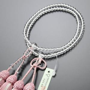 浄土真宗 数珠 女性用 8寸 本水晶 正絹2色房(灰桜色) 数珠袋付き|nenjyu