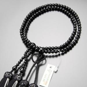 数珠 女性用 浄土真宗 黒オニキス 8寸 正絹房 数珠袋付き|nenjyu