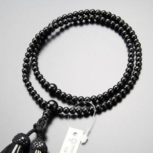 臨済宗 数珠 女性用 8寸 黒オニキス 正絹房 数珠袋付き|nenjyu