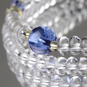 108玉 数珠ブレスレット みかん玉 本水晶 ブルークォーツ パワーストーン|nenjyu