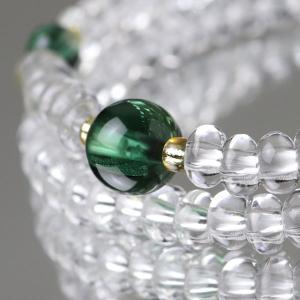 108玉 数珠ブレスレット みかん玉 本水晶 グリーンクォーツ|nenjyu