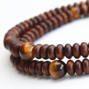 数珠 ブレスレット 108玉 みかん玉 栴檀 虎目石 木製|nenjyu
