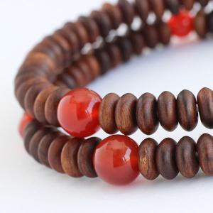 数珠 ブレスレット 108玉 みかん玉 栴檀 瑪瑙 木製|nenjyu