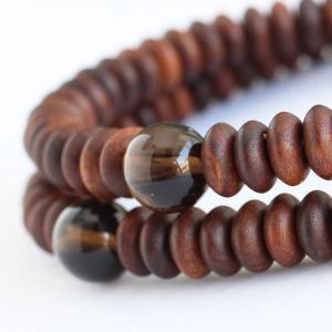 数珠 ブレスレット 108玉 みかん玉 栴檀 茶水晶 木製|nenjyu