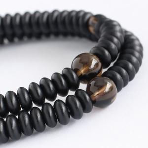 数珠 ブレスレット 108玉 みかん玉 艶消 黒檀 茶水晶 木製|nenjyu