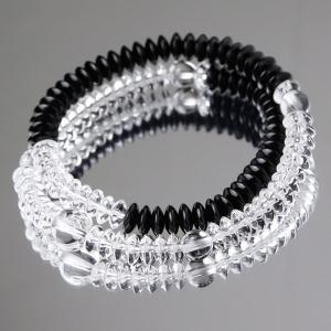 数珠ブレスレット 本水晶 黒オニキス 108玉 平玉|nenjyu