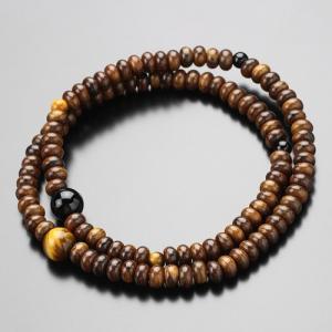 数珠ブレスレット 108玉 栴檀(艶有り) 虎目石 黒オニキス 木製|nenjyu